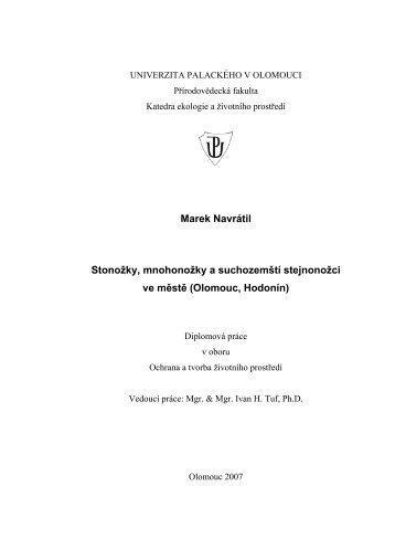 Marek Navrátil Stonožky, mnohonožky a suchozemští stejnonožci ve ...