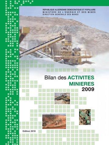 Bilan des Activités Minières, année 2009 - Ministère de l'énergie et ...