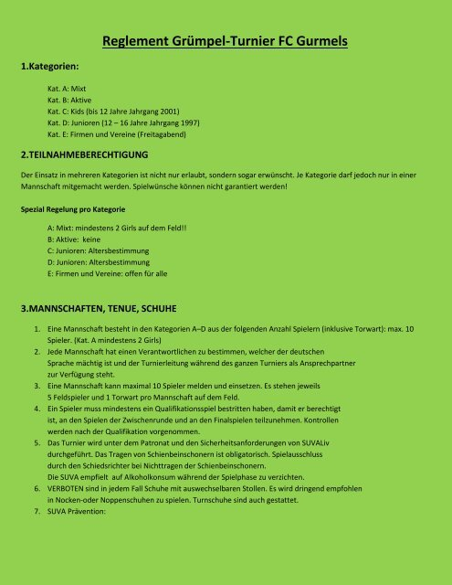 Reglement (PDF) - FC Gurmels