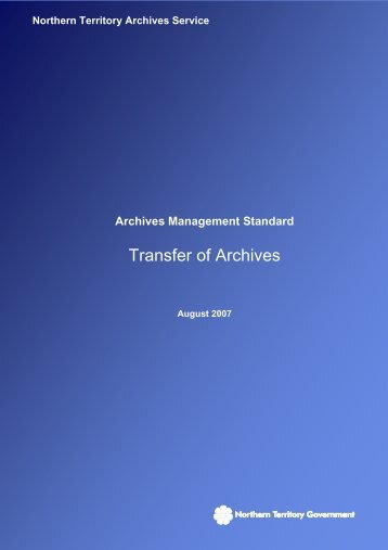 Transfer of Archives - Department of Arts and Museums - Northern ...