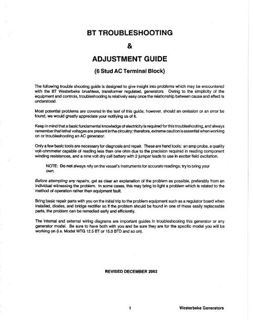 BT Troubleshooting and Adjustment Guide - Westerbeke on
