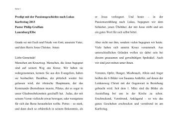 Predigt vom Karfreitag 2013 - ev. Kirche in Lauenburg