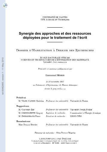 Synergie des approches et des ressources déployées pour le ...