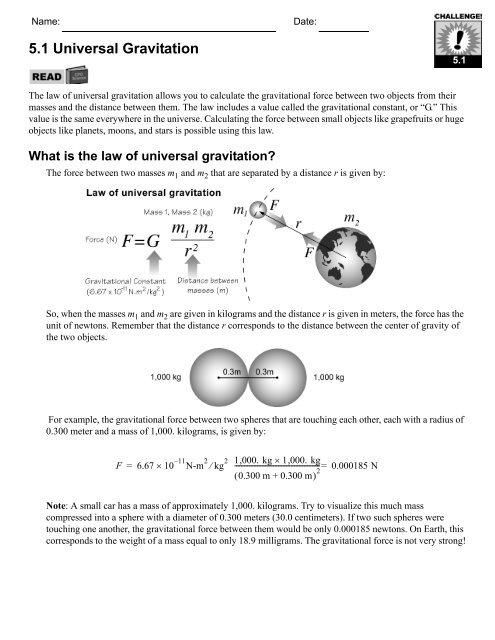 What is the law of universal gravitation? - CPO Science