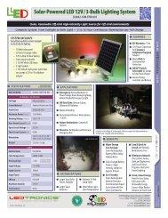 Solar-Powered LED 12V/3-Bulb Lighting System - Ledtronics Price ...