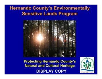 Hernando County's Environmentally Sensitive Lands Program