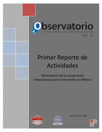 Primer Reporte de Actividades - Observatorio de la Cooperación ...