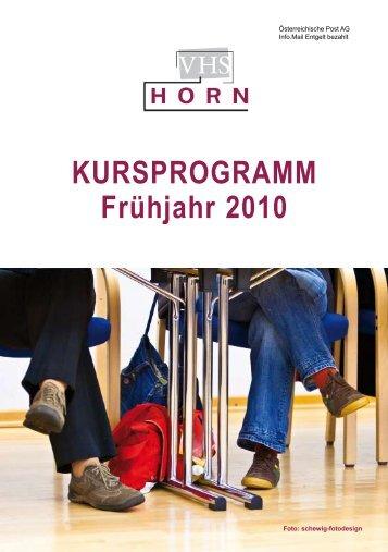 KURSPROGRAMM Frühjahr 2010 - VHS Horn