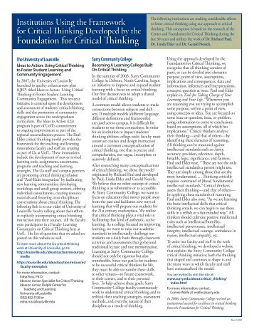Institutions Using Our Approach.pdf - The Critical Thinking Community