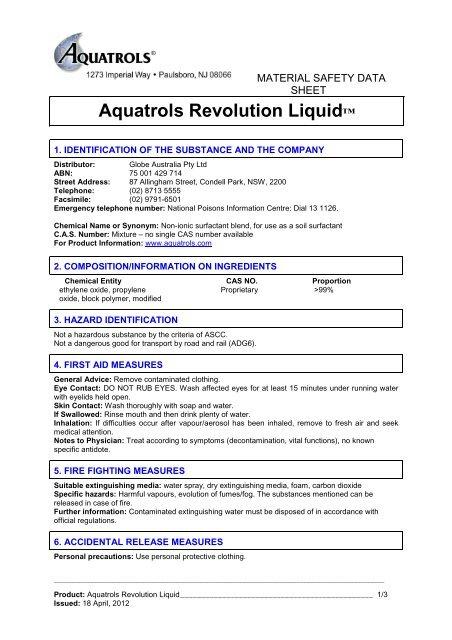 Aquatrols Revolution Liquid - MSDS - 18-04-2012 - Globe