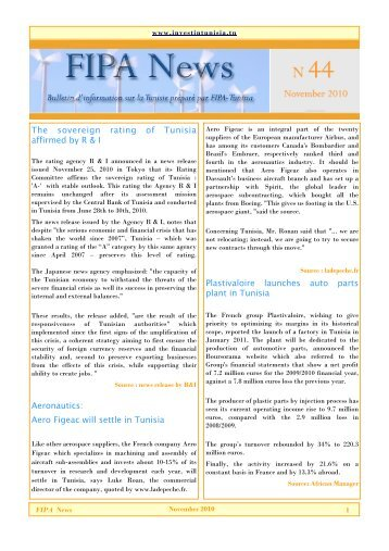 News letter N44 - Invest in Tunisia, The Foreign Investment ...