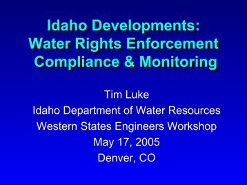 Water Rights Enforcement Compliance & Monitoring