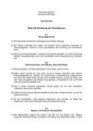 Satzung über die Erhebung der Hundesteuer - Bondorf