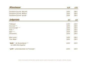 Mineralwasser Softgetränke - Golf Club Ulm