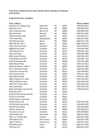 Store List Food Lion