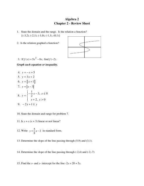 Algebra 2 Chapter 2 Review Sheet