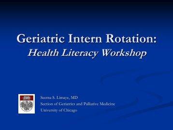 Slide presentation on health literacy - University of Chicago