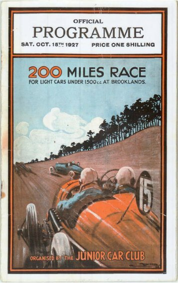 1927 Brooklands JCC 200 Miles Race Programme