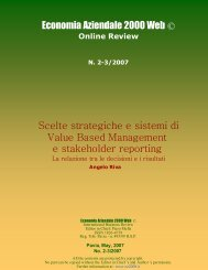 Scelte strategiche e sistemi di Value Based Management e ...