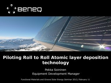 Piloting Roll to Roll Atomic layer deposition technology - Tekes