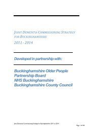 Dementia Commissioning Strategy - Buckinghamshire County Council