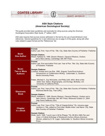 asa style citations Asa citation and bibliography generator can help you cite your entire work you can easily reference your work in asa style format with our online tool for free.