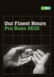 Our Finest Hours Pro Bono 2010 - Weil, Gotshal & Manges