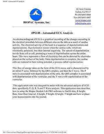 PS148 - Automated ECG Analysis - Biopac