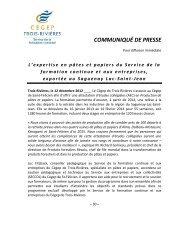 Pâtes et papiers - Cégep de Trois-Rivières