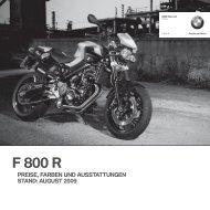 f 800 r preise, farben und ausstattungen stand: august 2009