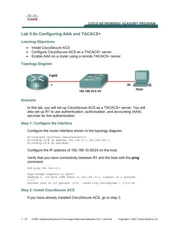 Lab 5.6a Configuring AAA and TACACS+