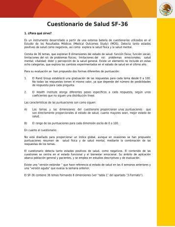 Cuestionario de Salud SF-36 - Dirección General de Planeación y ...