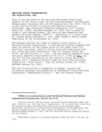 CSF Acquisition, Inc. - U.S. Railroad Retirement Board