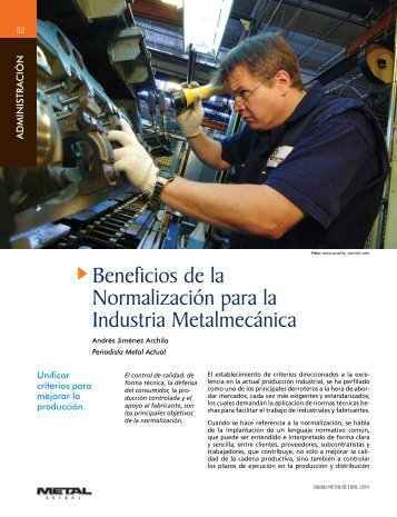 Beneficios de la Normalización para la Industria Metalmecánica