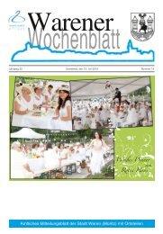 Amtliches Mitteilungsblatt der Stadt Waren (Müritz) mit Ortsteilen