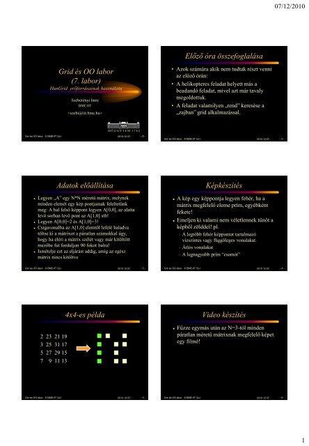 Grid és OO labor (7. labor) Előző óra összefoglalása Adatok ...