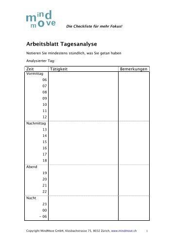 Arbeitsblatt Selbst- und Zielanalyse