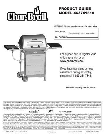 Product guide model 463741510 - Char-Broil Grills