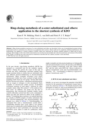 ring closing metathesis review Total synthesis of (+)-laurencin: anasymmetric alkylation−ring-closing metathesis approach to medium ring ethers michael t crimmins and kyle a emmitte venable and kenan laboratories of chemistry, the university of north carolina at.