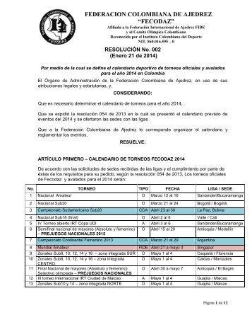 resol 02 asignacion sedes Calendario 2014