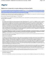 Règlement sur le respect de la vie privée - PayPal