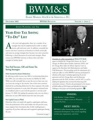 Bulletin Vol 1 Issue 2 Dec 02 - Burke, Warren, MacKay & Serritella, PC