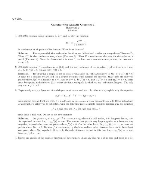 NAME: Calculus with Analytic Geometry I Homework 2 Solutions