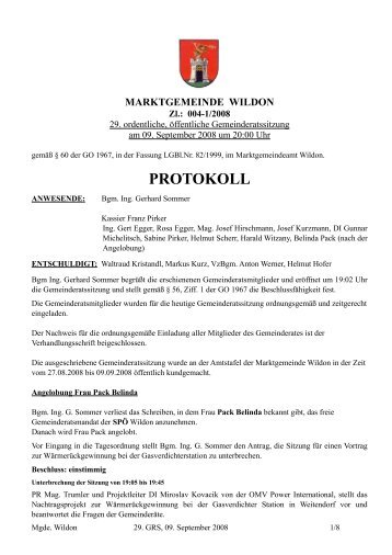 Protokoll der 29. Gemeinderatssitzung - Marktgemeinde Wildon