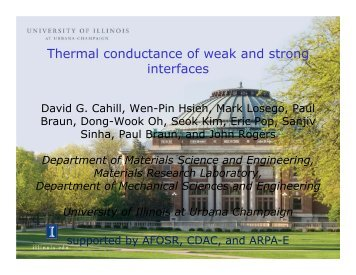Thermal conductance of weak and strong interfaces - University of ...