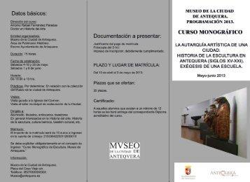 Curso Monográfico sobre Escultura Antequerana - Turismo de ...
