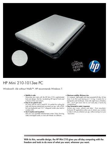 HP Mini 210-1013ee Netbook Datasheet - am4computers