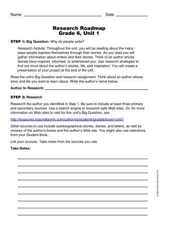 Research Roadmap Grade 6, Unit 1 - Treasures