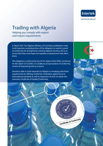 Advice on Trading with Algeria - Intertek