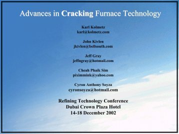 Advances In Cracking Furnace Technology